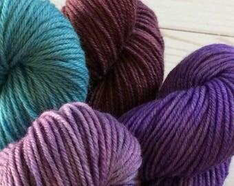 "Rugged Yarn Base, Hand Painted, 808 Yards, Worsted/ Aran Weight Yarn, Knitting Yarn, Crochet Yarn, ""Accents Kit"" 4 Ply Knitting Yarn,"