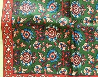 Vintage Silk Scarf in Persian Design by Echo Green Brown Blue Vintage Silk Scarf