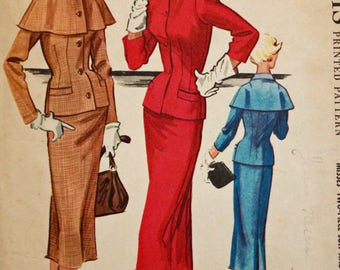 "Vintage 1950s Sewing Pattern, McCall's 3835, Misses' Two-Piece Suit With Detachable Cape, Misses' Size 14, Bust 34"", Estate Sale Find"