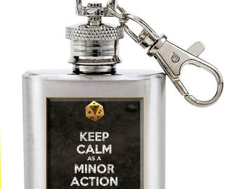 Minor Action D&D Dungeons and Dragons Dice 1 Ounce Key Chain Flask