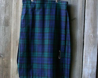 Plaid Green And Blue Wool Kilt Skirt Made in Scotland Midi Vintage From Nowvintage on Etsy