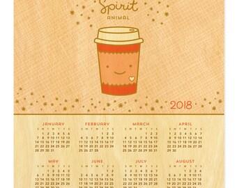 Coffee Spirit Animal Calendar - 2018 Hanging Calendar - Real Birch Wood - Coffee - My Spirit Animal - WCAL023