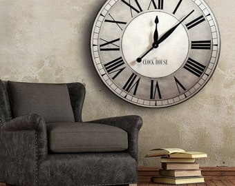 OVERSIZED Wall Clock 30in OXFORD Linen-Large Clock-Big Clock-Family Heirloom-Wedding Gift-Free Inscription