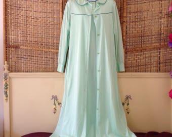 Vintage NOS 70's Sears Nylon Peignoir Mint Green Long Nightgown Robe Small