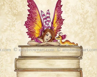 Book Club II fairy 8X10 PRINT by Amy Brown