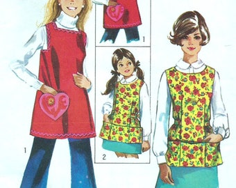 Vintage 60s-70s Simplicity 8563 UNCUT Misses Artist, Vendor or Valentine Smock Apron with LOVE Transfer Sewing Pattern - Size Small 8-10