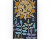 Sun,ceramic tile,Happy Summer Sun, a handmade raku fired 3x6 inch ceramic art tile for your home