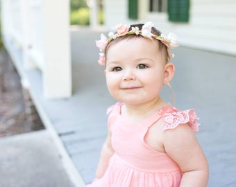 Baby Flower crown headband Bridal photo prop first birthday portraits mother daughter sizes hair Wreath flower girl halo wedding accessories