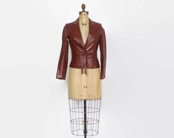 Vintage 70s LEATHER JACKET / 1970s Fitted Tie Front Cropped Burgundy Jacket XS