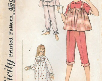Simplicity 4197 1960s Childs and Girls Nightgown and Pajamas Vintage Sewing Pattern Sizes 4 8 10 Sleepwear
