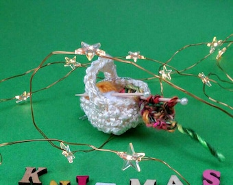 Christmas Tree Ornament - Yarn and Needles Basket - Gift for knitter - Miniature Knitting Basket