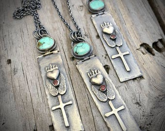 Sterling Silver Sacred Heart Necklace Turquoise & Garnet Gemstone Necklace Handmade By Wild Prairie Silver Jewelry