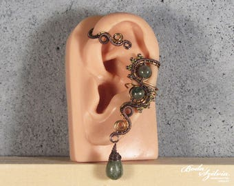 Dryad EAR WRAP - wire wrapped copper and brass ear cuff with green kyanite, adjustable gemstone ear wrap, no piercing ear cuff