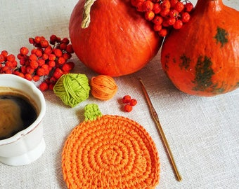 Orange Pumpkin Coaster Pattern - Crochet Pumpkin Rug Mug - Pumpkin Rug Mug Pattern - Autumn Decor - Thanksgiving Decor -  Rustic Table Decor