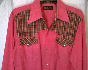 Vintage 70s 80s Western Pearl Snap Shirt by Look, Red Pink with Plaid Cuff Pockets Shoulders, Cowboy