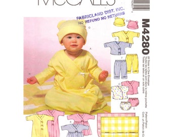 Baby Layette Pattern Crossover T-Shirt, Pants, Sacque Gown, Dress, Panties, Blanket, Hat, McCalls 4280 Size S M L XL, 6 to 24 Months Uncut