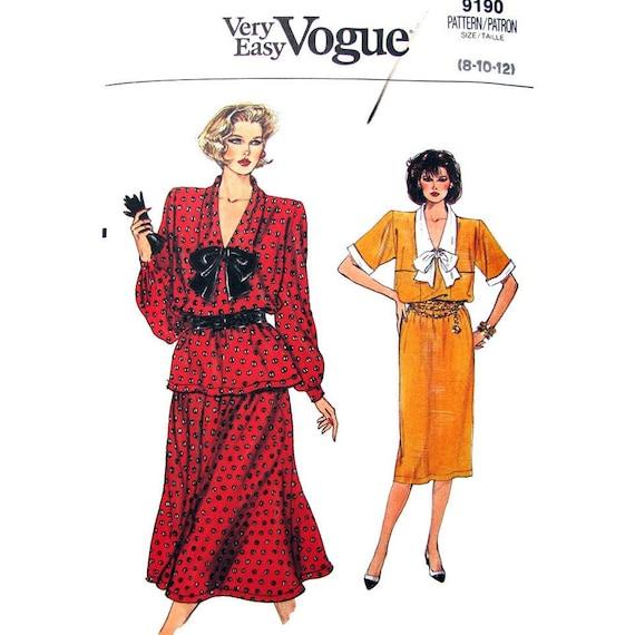 1980s Dress, Top, Skirt Pattern Vogue 9190 Neck Tie Womens Size 8 10 12 Vintage Pattern