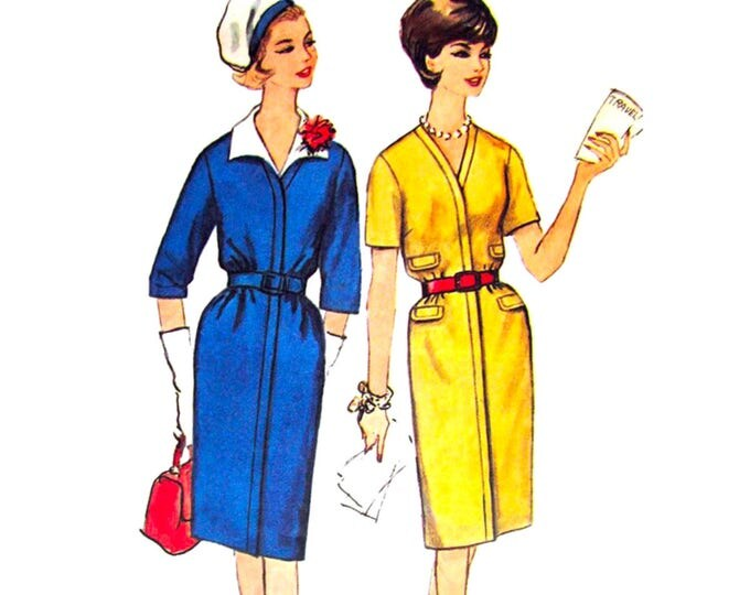 1960s Vintage Dress Pattern Simplicity 4889 Slim Zipper Front Dress Bust 40