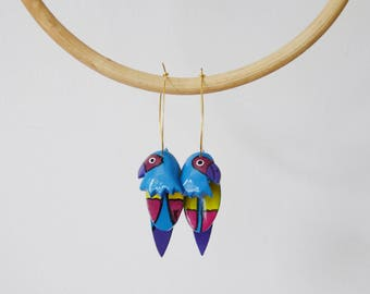 1980s Blue Wooden Parrot Earrings