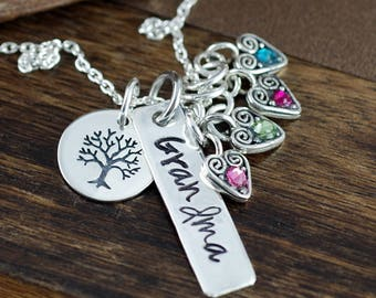 Personalized Grandma Necklace, Family Tree Necklace, Mother's Birthstone Necklace , Silver Bar Necklace, Mother's Day Gift, Gift for Grandma
