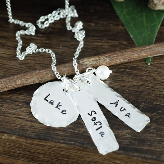 Personalized Name Tag Necklace, Necklace for Mom, Hand Stamped Name Necklace, Name Jewelry, Silver Bar Necklace, Mother's Necklace