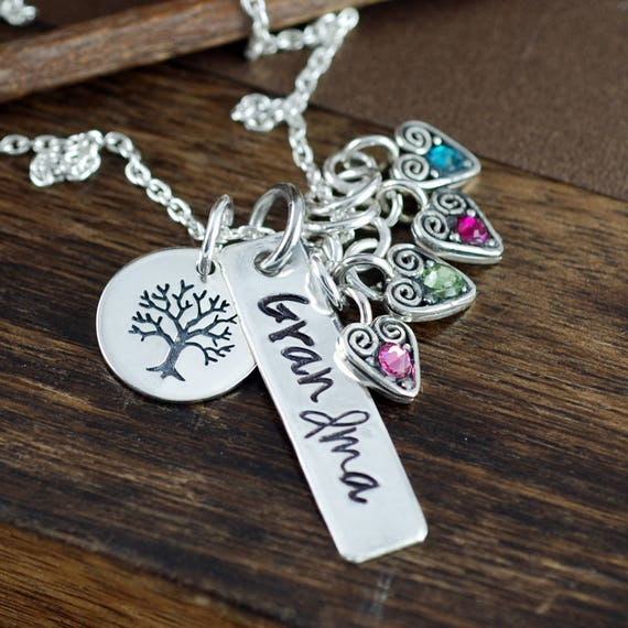 Family Tree Necklace, Personalized Grandma Necklace, Mother's Birthstone Necklace , Silver Bar Necklace, Mother's Day Gift, Gift for Grandma