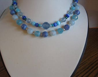 Varigated blues and teals necklace
