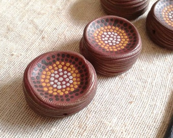 Golden Summer Red - Rustic Speckle Bead - hand painted boho chic dot bead (ready to ship)