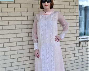 60s bridesmaid funnelneck dress,  60s prom pink formal maxi, 1960s small vintage wedding dress