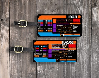 Printed Personalized Luggage Tags Star Space Trekkie Spaceship Panel  Custom Address Printed Metal Tags Single Tag or Set Available