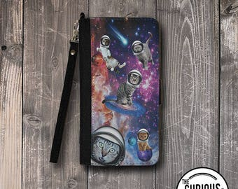 Cats in Space Fabric Travel Wallet Detachable wrist strap 5 Credit Card Slots Money Pocket