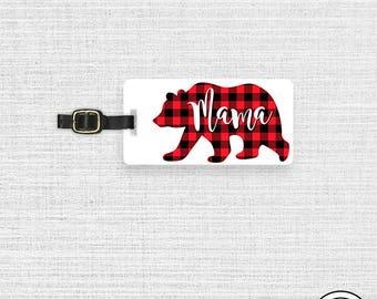 Luggage Tag Mama Bear Red Black Plaid Metal Luggage Tag With Custom Info On Back  Single Tag  Great Gift