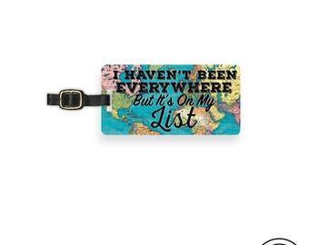 Luggage Tag It's on my list Vintage Map Metal Luggage Tag With Custom Info On Back, Single Tag
