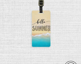 Luggage Tag Hello Summer Beach Metal Luggage Tag With Custom Info On Back, Single Tag