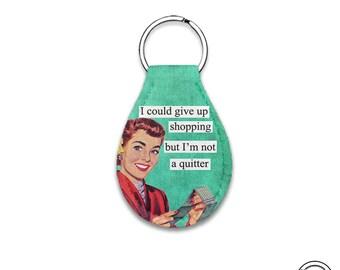 Quarter Keeper Give up Shopping Not a quitter Neoprene Cart Quarter Keychain Key Chain Holder Carry Case, Lotto Scratcher case
