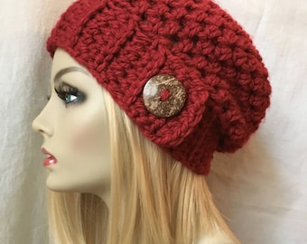 Red Womens Hat, Crochet Beret, Holiday Gifts, Coconut Button, Pick Color, Chunky, Warm, Teens, Birthdays Gifts for Her JE467BTBU8