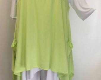 Plus Size Top, Lagenlook. Layering Top, Plus Size Tunic, Womens Tunic Top, Green Kiwi, Traveler Knit Size 1 Fits 1X,2X  Bust to 50 inches