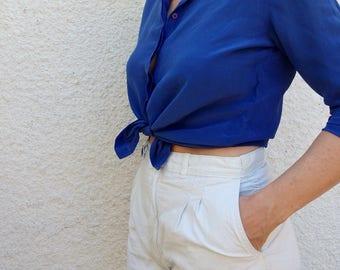 Womens Blouses Vintage Silk Blue