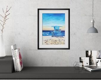Beach Art Coastal Decor Tower 22 Ponto Print Lifeguard