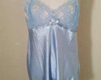 vintage lingerie, blue baby doll, embroidered blossoms, romantic clothing, vintage underwear