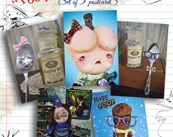 Poopnderful -Set of 5  Halloween Postcards - young monsters art dolls ass girl poop freaks magician weird creatures funny postcards spoon