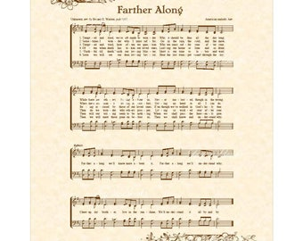 FARTHER ALONG a.k.a. Tempted and Tried - Vintage Verses Christian Home & Office Decor Hymn Wall Art Sheet Music Wall Art Hymn On Parchment