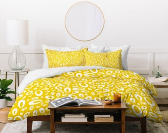 Yellow Geometric Duvet Cover // Twin, Queen, King Sizes // Bedding // Home Decor // Molecular Yellow Design // Organic Dot // Modern Bedroom