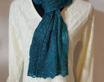 Suri Alpaca Scarf, Lace Knit Scarf, Handmade Suri Alpaca Scarf, Home Grown Alpaca, Hand Dyed  Teal