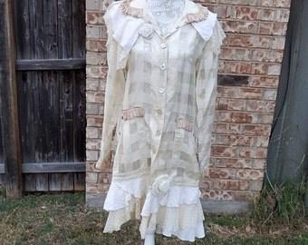 Altered Women's gold tan Linen/NylonTunic. Satin,nylon,beaded embellished, Altered Couture, Medium, Shabby Chic, Romantic Blouse,Gold Jacket