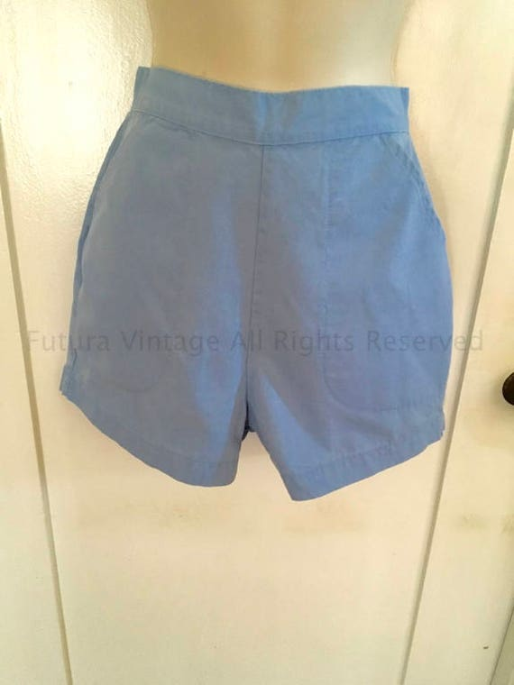 1950s BLUE BELL High Waist Light Blue Shorts with Front Pockets and Back Metal Zipper-XS