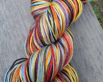 Russian Fairy Tale Self-striping Superwash Merino and Nylon Blend Sock Yarn: Black, Burgundy, Green, Blue, Gold, Orange