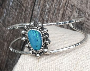 Statement Sterling Silver and Opal Cuff Bracelet - Big Silver Stone Cuff Bracelet with Silver Ball Accents - Hand Hammered Silver Cuff