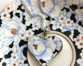Broken china jewelry - china heart pendant necklace - antique powder blue on white rose floral chintz porcelain