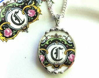 Letter C initial monogram, china pendant made from a broken antique plate, broken china jewelry necklace by Dishfunctional Designs